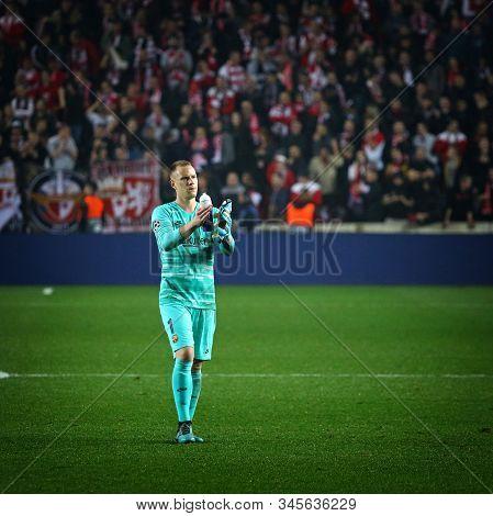 Prague, Czechia - October 23, 2019: Goalkeeper Marc-andre Ter Stegen Of Barcelona Thanks Fans After