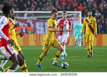 Prague, Czechia - October 23, 2019: Frenkie De Jong Of Barcelona Controls A Ball During The Uefa Cha