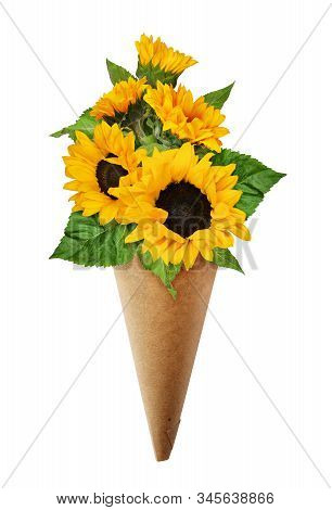 Bouquet Of Sunflowers In A Craft Paper Cornet Isolated On White