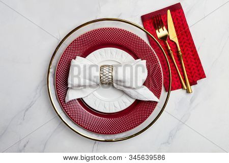 Copy Space With Red Elegance Serving Plate At White. Table Top, Free Space For Text. Concept Of Fest