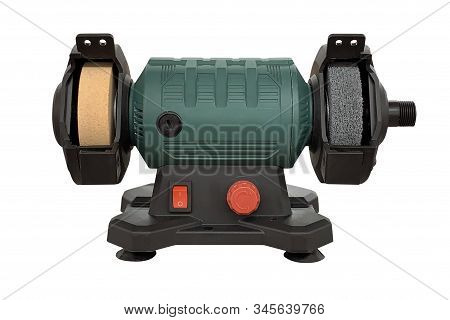 Image Of Green Bench Grinder Isolated On White Background