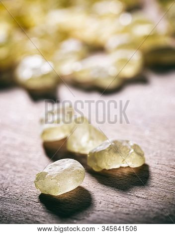 Chios Mastic Tears On Wooden Background, Closeup View