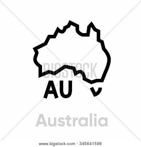 Australia Icon Map With Tasmania Vector Icon. Editable Line Illustration