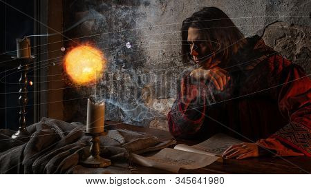 History Of Science, Concept. Nicholas Copernicus Author Of The Heliocentric System Of The World, The