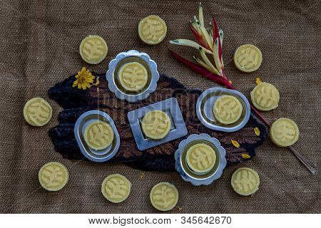 A Dish Of Delicious Thai Traditional Dessert Called Thua Kwan (mung Bean Cookies), Top View.