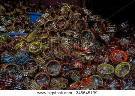 Colorful Bangles Sold At Indian Street Market