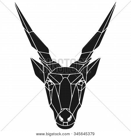 The Black Geometric Head Of Eland Antelope. Polygonal Abstract Animal Of Africa. Vector Illustration