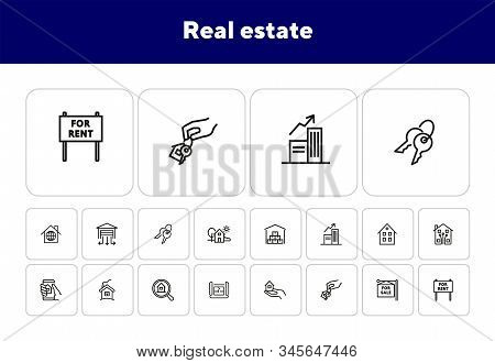 Real Estate Line Icon Set. House, Home, For Sale. Housing Concept. Can Be Used For Topics Like Mortg