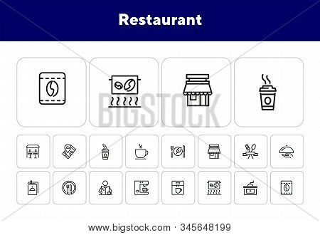 Restaurant Icons. Set Of Line Icons On White Background. Menu, Coffee Maker, Course, Client. Cafe Co