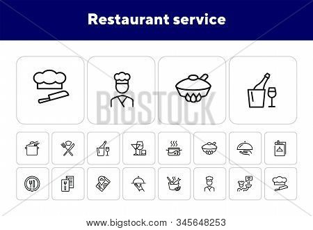 Restaurant Service Line Icon Set. Set Of Line Icons On White Background. Menu, Stewpan, Plate, Chef.