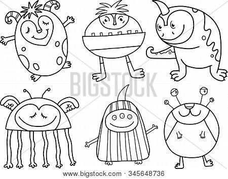 Black And White Doodle Monster Cartoon Collection.