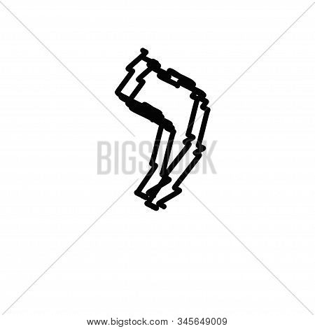 Black Letters Of The Hebrew Alphabet. Hebrew Children Scribbles. Vector Illustration On Isolated Bac