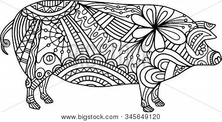 Coloring Activity Folk Art Style Farm Pig Doodle.