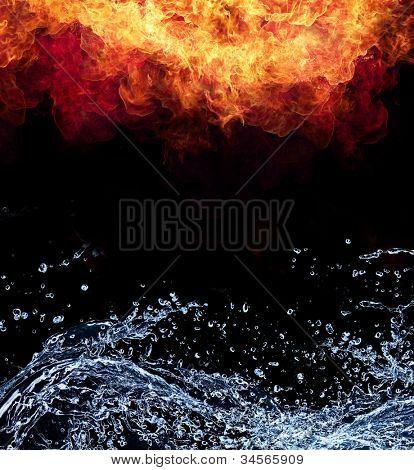 Conexão de água e fogo, representação de elementos. Isoladas no fundo preto