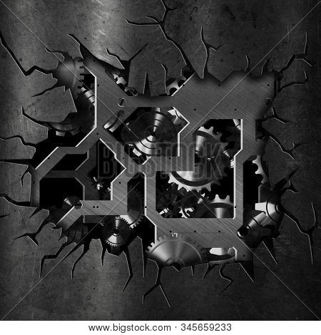 3D render of a cracked grunge metal background with cogs and gears