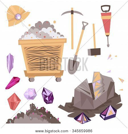 Mining Mineral Color Icons Set. Miner Equipment. Trolley, Minerals And Tools. Vector Illustration