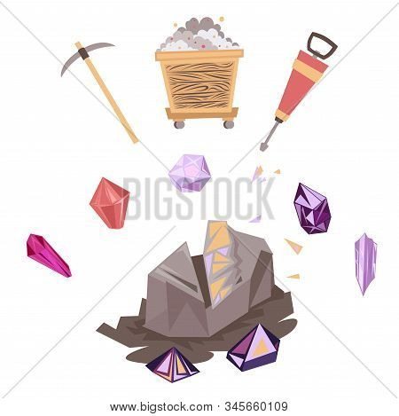 Mining Mineral Color Icons Set. Mining Mineral Color Icons Set. Trolley, Minerals And Tools. Vector