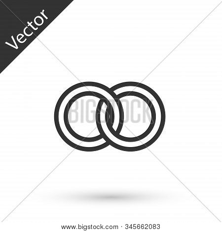 Grey Line Wedding Rings Icon Isolated On White Background. Bride And Groom Jewelery Sign. Marriage I