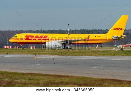 October 29, 2019, Moscow, Russia. Plane  Tupolev Tu-204 Aviastar Airlines In Livery Dhl At Sheremety