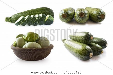 Fresh Cut Zucchini Isolated On A White Background. Design Element For Product Label. Design Image Of