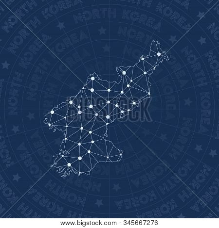 North Korea Network Style Country Map. Alluring Space Style, Modern Design For Infographics Or Prese