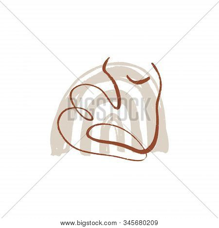 Bodypositive Woman Line Drawing Modern Abstract Linear Ink Brush Art Contemporary Continuous Cubism