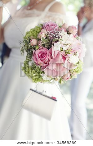 Pretty Pink Roses In Bridal Bouquet