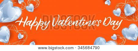 Happy Valentines Day Calligraphy Lettering And White Diamond Gems Heart. Vector Illustration. Luxury