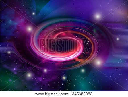 Black Hole, Vector Spiral Galaxy Space. Star Field In Space And A Nebulae. Abstract Background Of Un