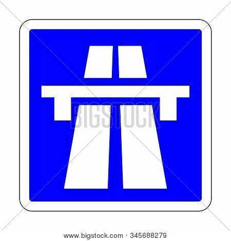 Blue Motorway Sign In France With A White Background