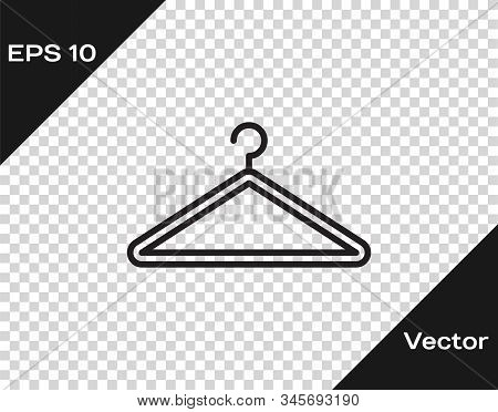 Black Line Hanger Wardrobe Icon Isolated On Transparent Background. Cloakroom Icon. Clothes Service