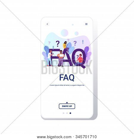 Mix Race People Group With Question Exclamation Marks Using Digital Devices Online Support Center Fr