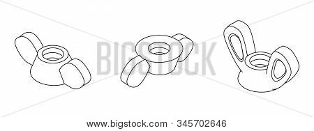 Wing Nut Collection | Technical Drawing | Vector Illustration For Business And Industry | Wing Screw