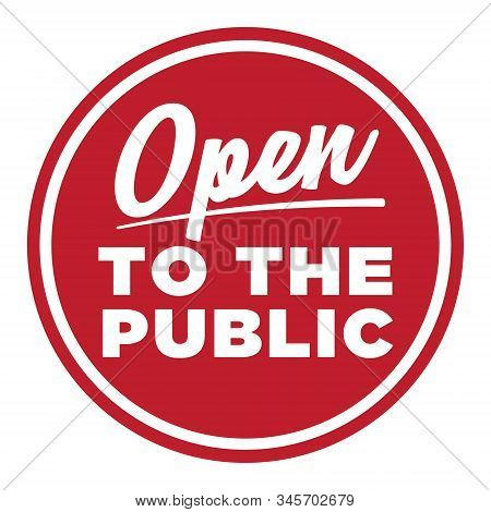 Open To The Public Sign | Window Decal | Business Symbol | Retro Sign Painter Graphic | Red Store Ic