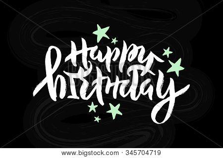 Vector Stock Illustration Of Happy Birthday Inscription With Mint Stars For Greeting Card, Invitatio