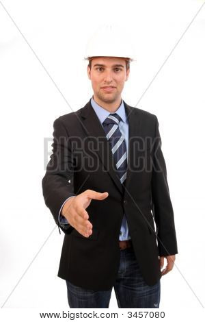 Young Businessman, Offering To Shake Hands