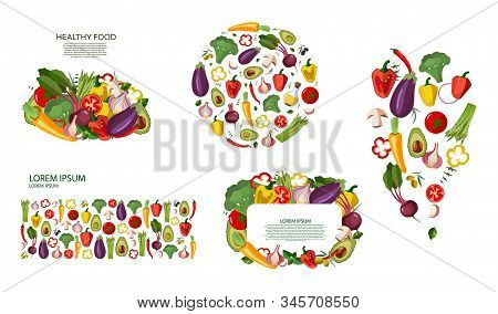 Set Vegetables Icons Set In Cartoon Style On A White Background. Collection Farm Product For Restaur