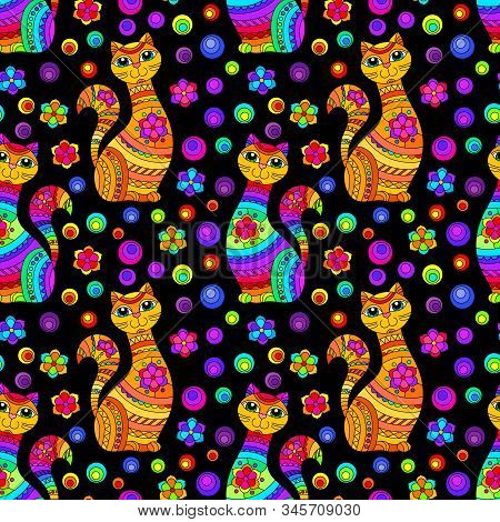 Seamless Pattern With Bright Cats And Flowers In Stained Glass Style On A Dark Background