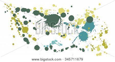 Graffiti Spray Stains Grunge Background Vector. Hipster Ink Splatter, Spray Blots, Mud Spot Elements