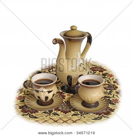 Coffee Pot  And Two Coffee Cups On  Tablecloth Isolated