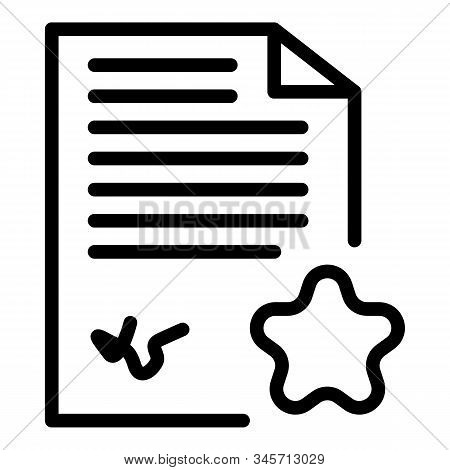 Paper Star Document Icon. Outline Paper Star Document Vector Icon For Web Design Isolated On White B