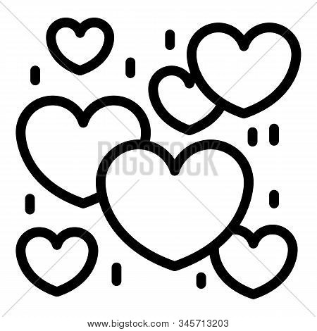 Much Love Hearts Icon. Outline Much Love Hearts Vector Icon For Web Design Isolated On White Backgro