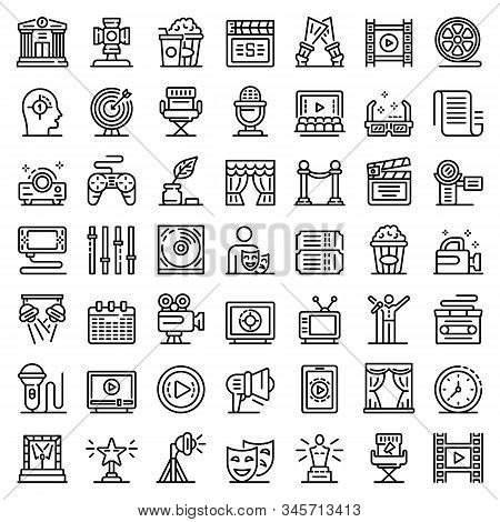 Stage Director Icons Set. Outline Set Of Stage Director Vector Icons For Web Design Isolated On Whit