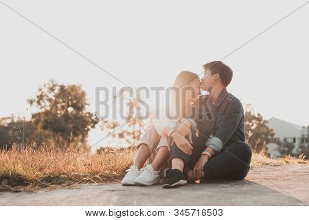 Attractive Young Asian Women Lgbt Lesbian Couple Smiling And Kissing Moments Romantic Happiness With