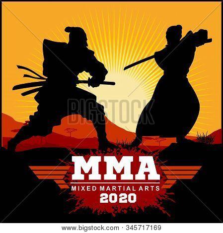 Silhouettes Duel Of Two Samurai - Samurai Warriors With Katana Sword - Mma Mixed Martial Art