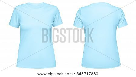 Blank Blue Female T Shirt Template Front And Back Side View Isolated On White Background. T-shirt De