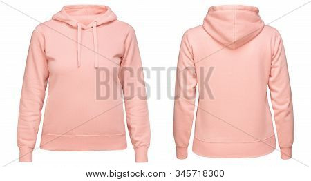 Pink Female Hoodie Sweatshirt With Long Sleeve, Women Hoody With Hood For Your Design Mockup For Pri