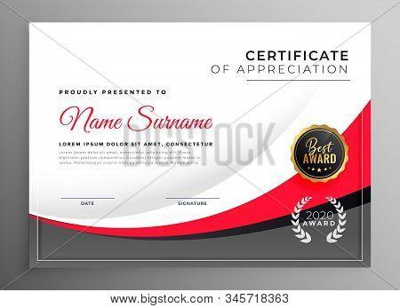 Stylish  Professional Success Certificate Design Illustration Template