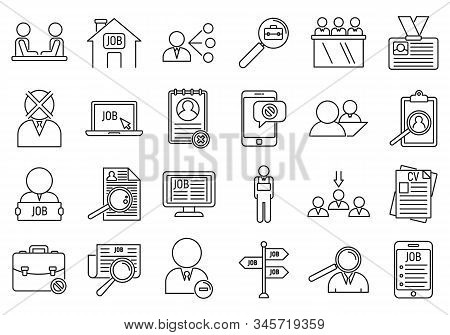 Unemployed Office Icons Set. Outline Set Of Unemployed Office Vector Icons For Web Design Isolated O