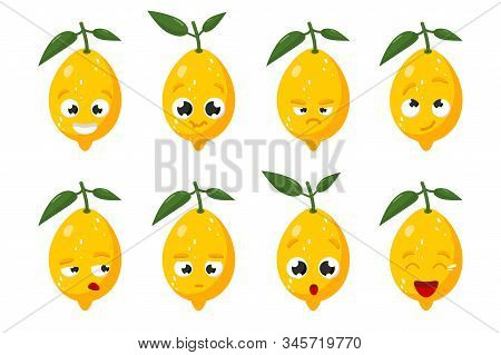 Limon Fruit. Cute Vector Character Set In Various Action Emotions. Collection Of Funny Fruit Symbols